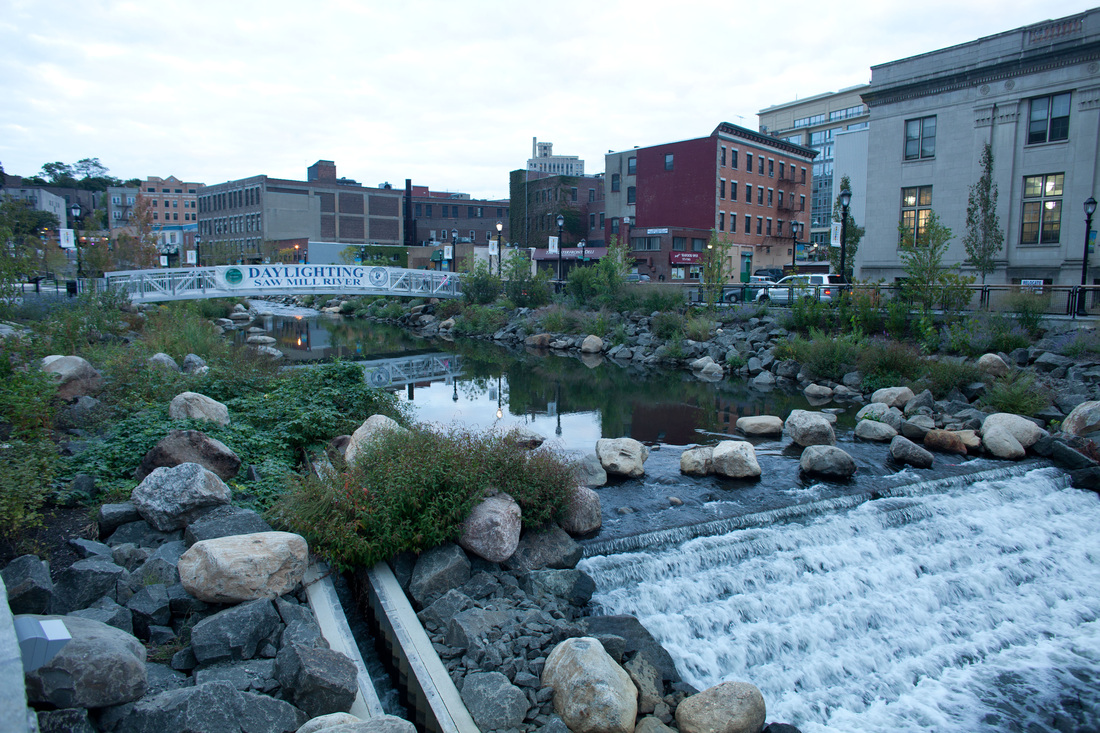 Daylighted river in Yonkers, NY. This used to be a parking lot parking. lot. Photo: DaylightingYonkers.com