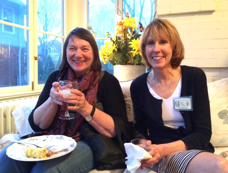 Aislinn & Teresa enjoy refreshments and beverages before the business meeting.