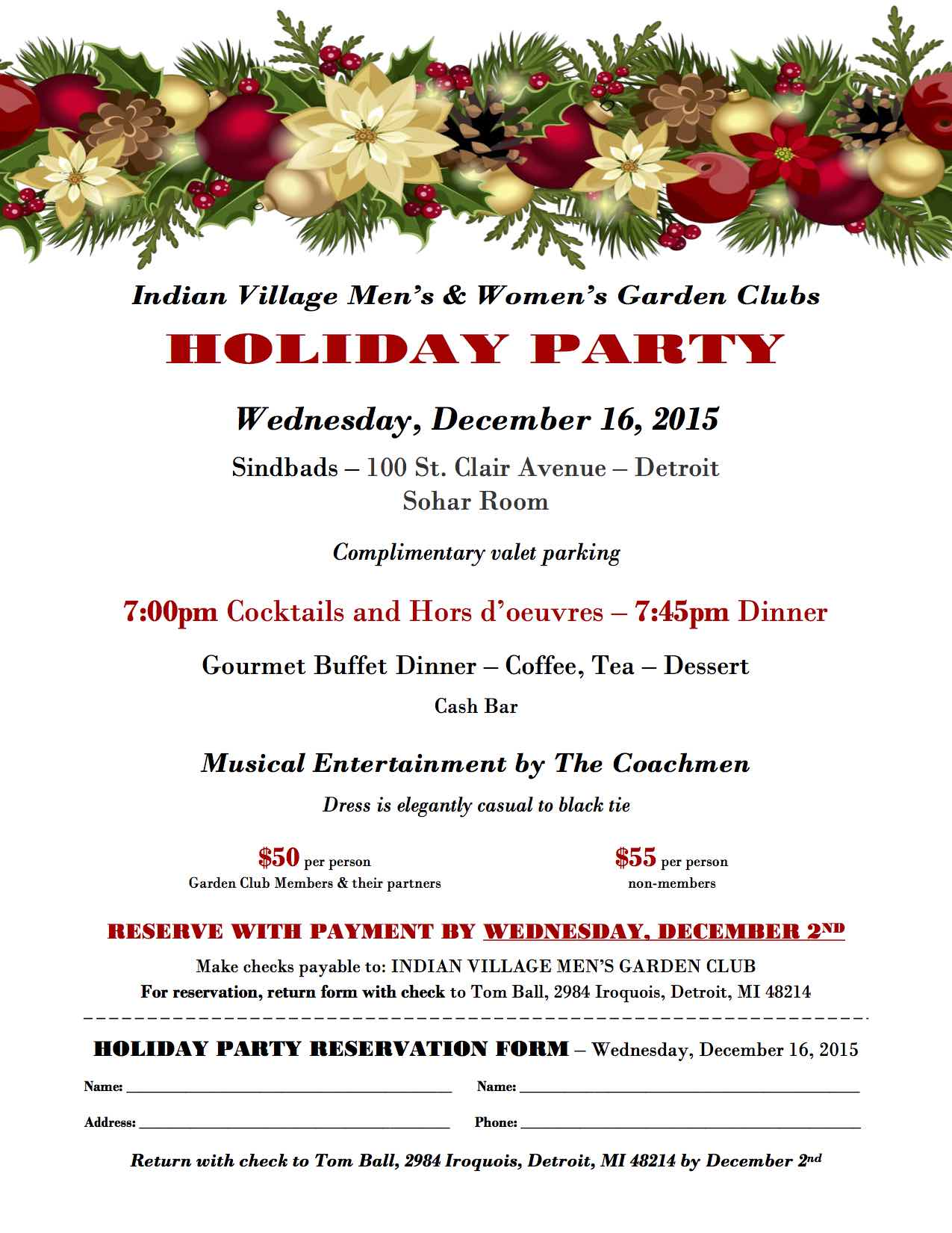 December 16 Holiday Dinner Dance Historic Indian Village