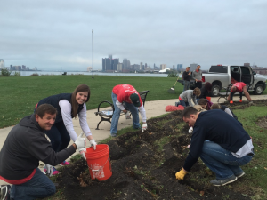 Volunteers from Quicken Loans planting daffodil bulbs near Sunset Point on Belle Isle.