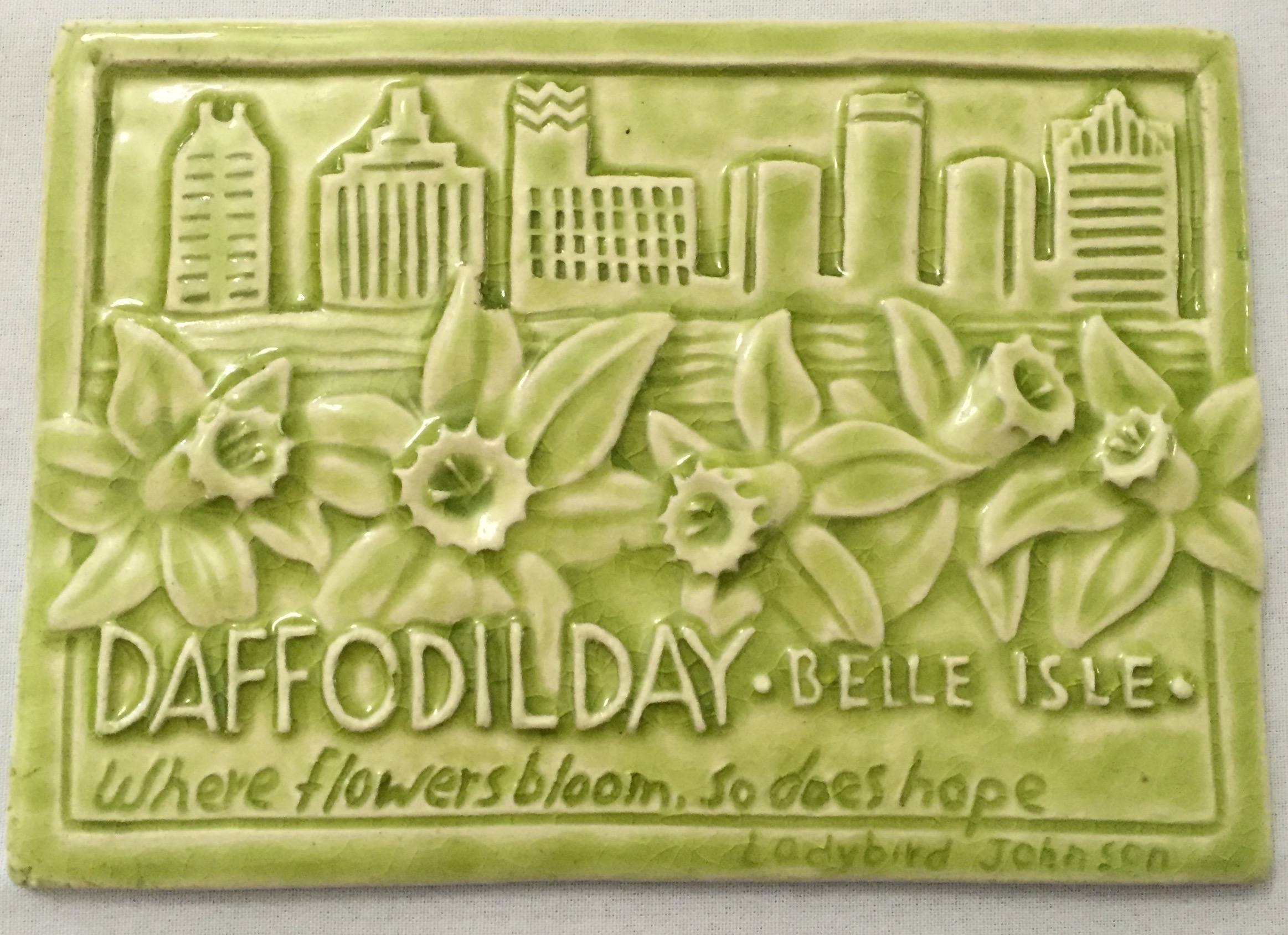 A Daffodil Day tile designed especially for us by Rick Pruckler owner of Whistling Frog Tile.